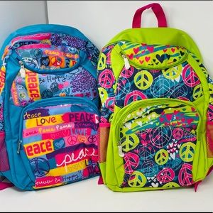 New 3C4G Full Size Backpack Peace Sign Green Blue